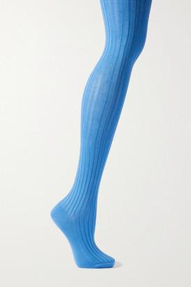 Prada Ribbed Stretch-silk Tights - Blue