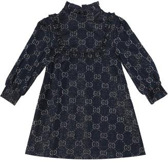 Gucci Kids GG lame cotton-blend dress