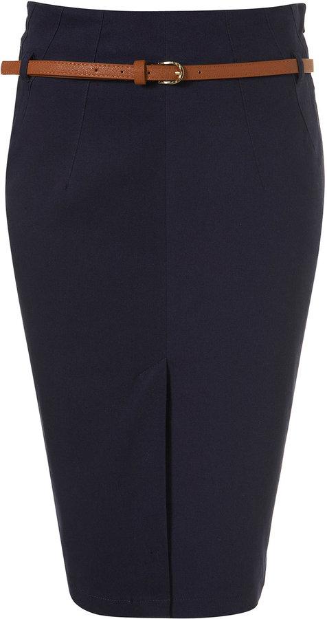 Topshop Belted Pencil Skirt