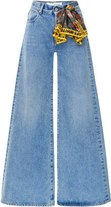 Off-White Scarf-Detailed Mid-Rise Wide-Leg Jeans