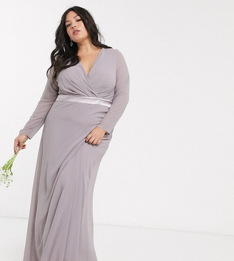 TFNC Plus Bridesmaids long sleeve bow back maxi dress in grey