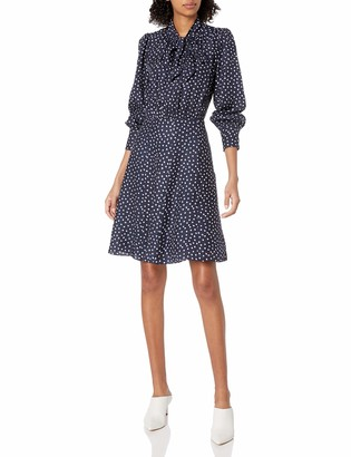 Rebecca Taylor Women's Long Sleeve Heart Print Silk Mini Dress with Neck Tie