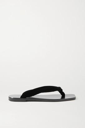 The Row Swan Velvet Flip Flops - Black