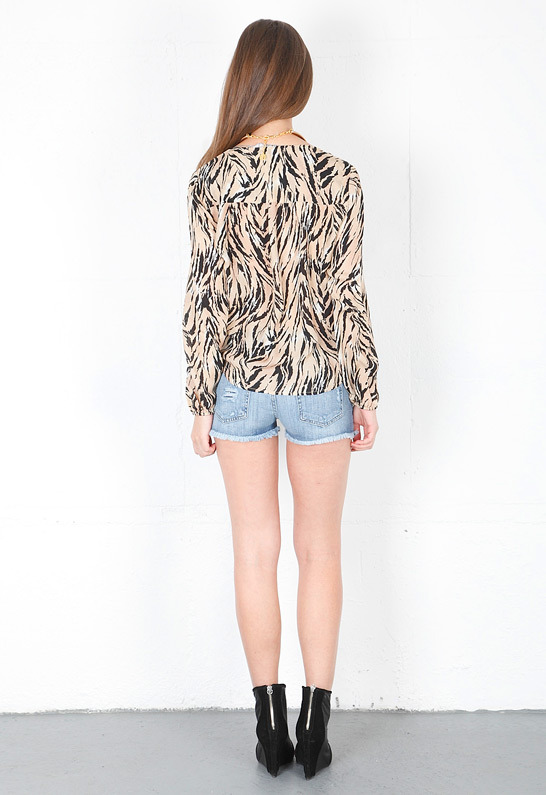 Chelsea Flower Wrap Front Blouse in Tiger Print