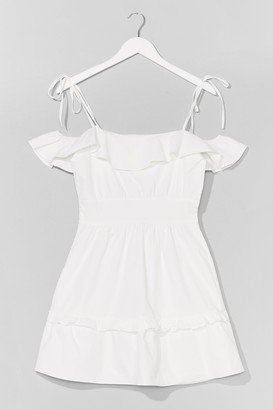 Nasty Gal Womens Sun Trap Ruffle Mini Dress - White - 6, White