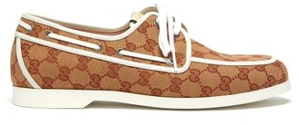 Gucci Original Gg Canvas Boat Shoes - Mens - Beige