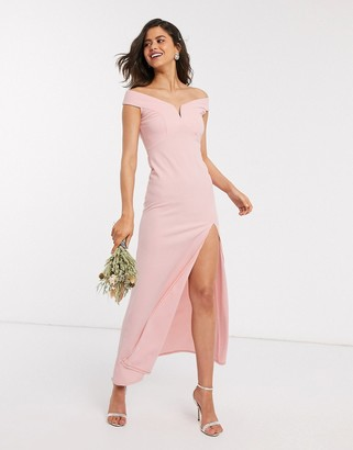 TFNC Bridesmaid bardot maxi dress in pink