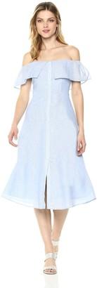 BB Dakota Women's Jeanne Button Front Striped Dress