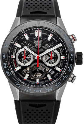 Tag Heuer Tag Black Stainless Steel Carrera Calibre 02 CBG2A10. FT6168 Men's Wristwatch 45 MM