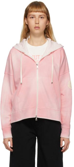 Moncler Pink Spray Paint Zip-Up Hoodie