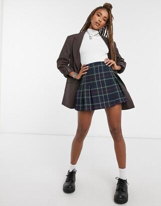 ASOS DESIGN pleated mini skirt in dark based check