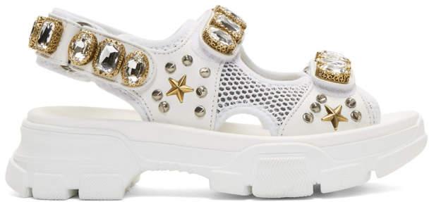 Gucci White Crystal Aguru Chunky Sandals