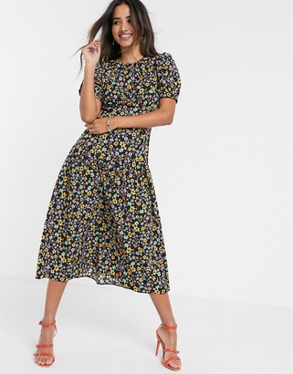 Asos DESIGN midi tea dress with dropped waist in floral print