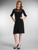 Lyell Fan Dress in Silk Georgette with Lace Inserts in Black