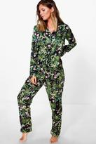 Boohoo Hannah Satin Button Through Jungle Print PJ Set