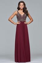 Faviana 10017 Beaded V-neck A-line Dress