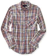 Aeropostale Womens Long Sleeve Lightweight Plaid Woven Shirt
