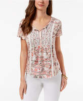 Style&Co. Style & Co Petite Printed Tasseled Top, Created for Macy's