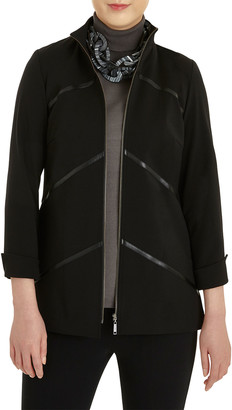 Misook Faux-Leather Zip-Up Ponte Jacket
