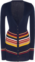 Victoria Beckham Striped Stretch Cotton-Blend Cardigan