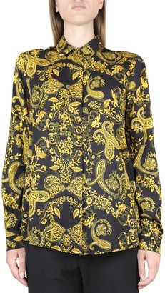 Versace Jeans Couture Crepe Shirt With All Over Paisley Print