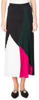 Proenza Schouler Pleated Colorblock Midi Skirt, Multi Pattern