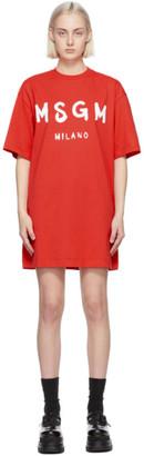 MSGM Red Artist Logo T-Shirt Dress