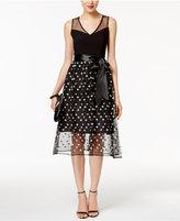 SL Fashions Floral-Print Mesh A-Line Dress