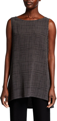 Eileen Fisher Grid Bateau-Neck Long Textured Crepe Shell