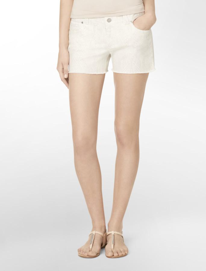 Calvin Klein Snake Print Cutoff Shorts