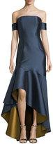 Sachin + Babi Walia Off-the-Shoulder High-Low Hem Evening Gown
