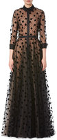 Carolina Herrera Illusion Polka Dot Tulle Trench Gown, Black