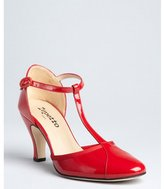 Repetto cherry patent leather cap toe t-strap pumps