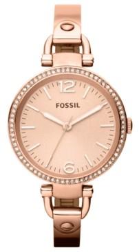 Fossil Women's Georgia Rose Gold-Tone Bangle Watch