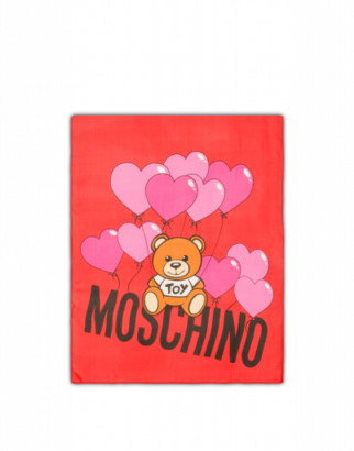Moschino Silk Scarf Heart Baloons Teddy Woman Red Size Single Size