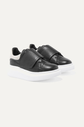 ALEXANDER MCQUEEN KIDS Suede-trimmed Leather Exaggerated Sole Sneakers - Black