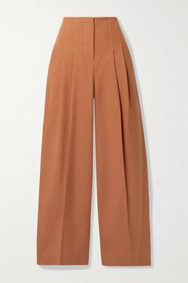 LVIR Pleated Wool-blend Wide-leg Pants - Orange
