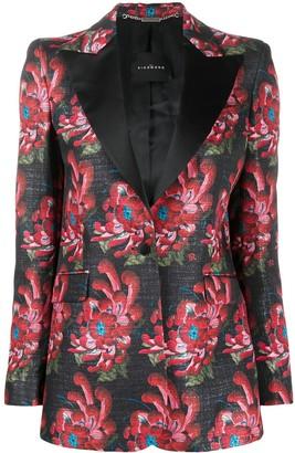 John Richmond Floral Print Tuxedo Blazer