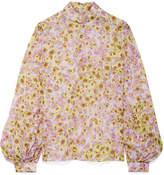 Giambattista Valli Floral-print Silk-georgette Blouse - Pastel pink