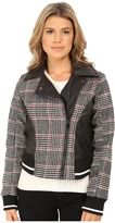 Dollhouse Asymetric Zip Baseball Jacket w/ Striped Knit Trim