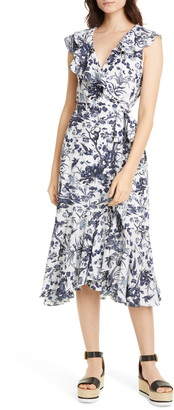 Erdem Junita Ruffle Toile de Jouy Print Silk Wrap Dress