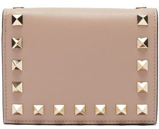 Valentino Rockstud Leather Wallet - Nude