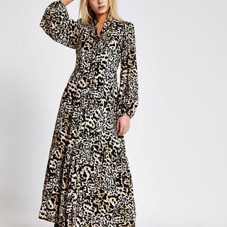 River Island Beige leopard print tie neck midi dress