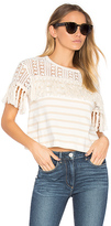 See by Chloe Short Sleeve Fringe Top in White