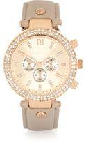 River Island Womens Grey gold tone gem encrusted watch
