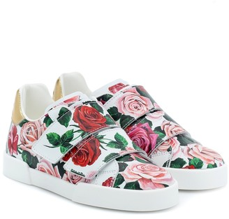 Dolce & Gabbana Kids Portofino floral leather sneakers