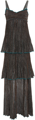 M Missoni Tiered Metallic Crochet-knit Maxi Dress