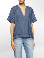 Calvin Klein Perforated Trim Chambray Boho Top