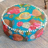 Novica Handcrafted Cotton 'Blue India Dahlia' Ottoman Cover (India)