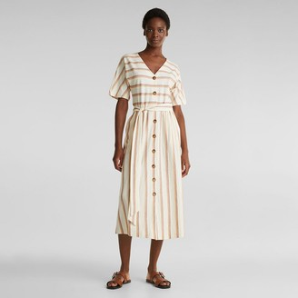Esprit Striped Cotton Mix Dress in Midi Length